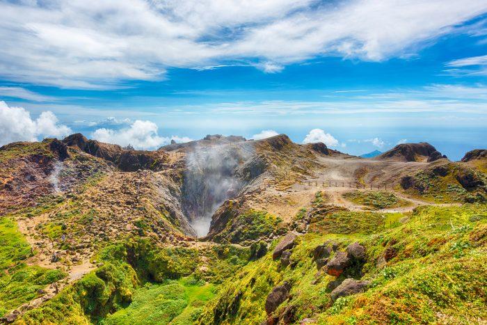 De Soufriere vulkaan in Saint Vincent en de Grenadines