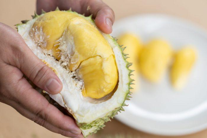 Gepelde durian fruit