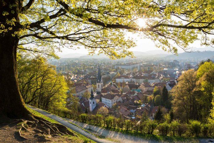 Park bij Ljubljana kasteel