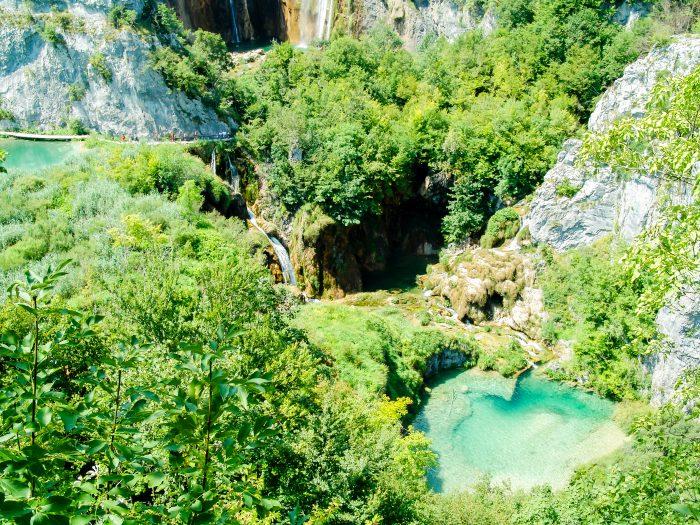 Plitvice Meren eerste uitzicht
