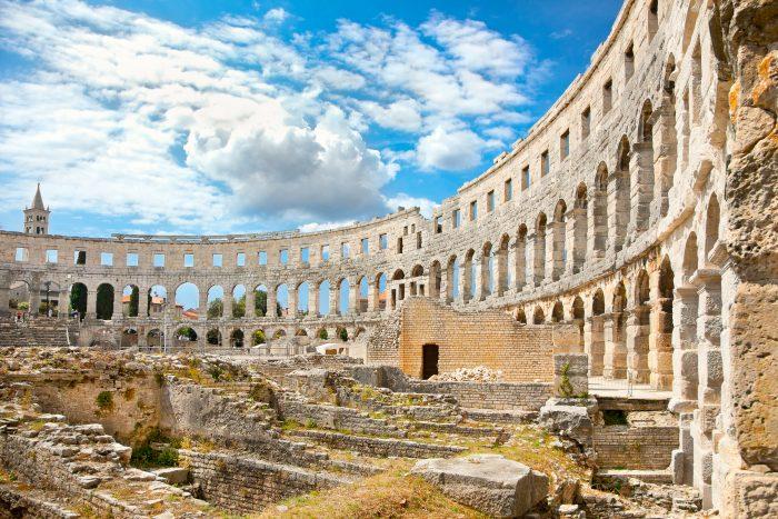 Pula Gladiatoren Arena bij Rovinj, Kroatië