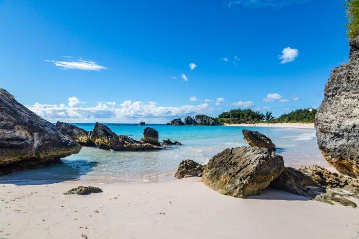 Strand bij Horseshoe Bay op Bermuda