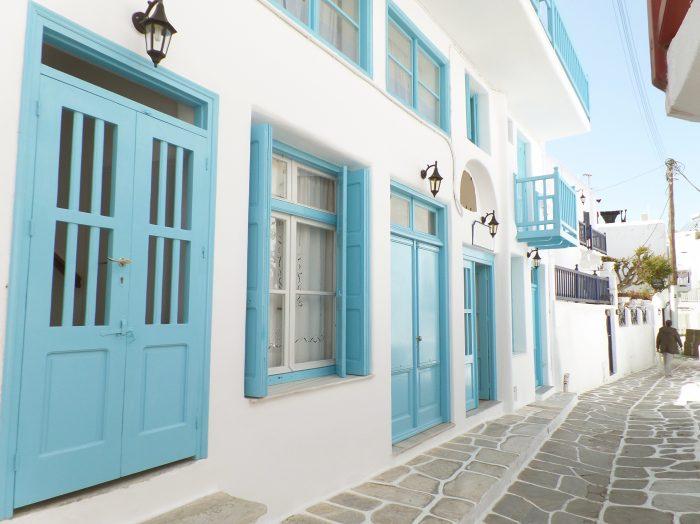 Witte gebouwen in Mykonos-stad