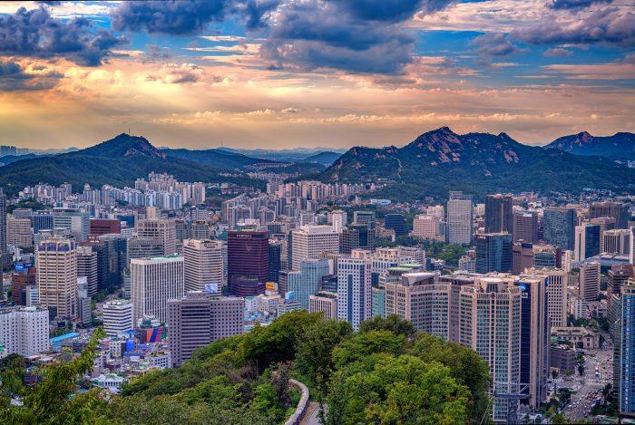 Zonsondergang over Seoul