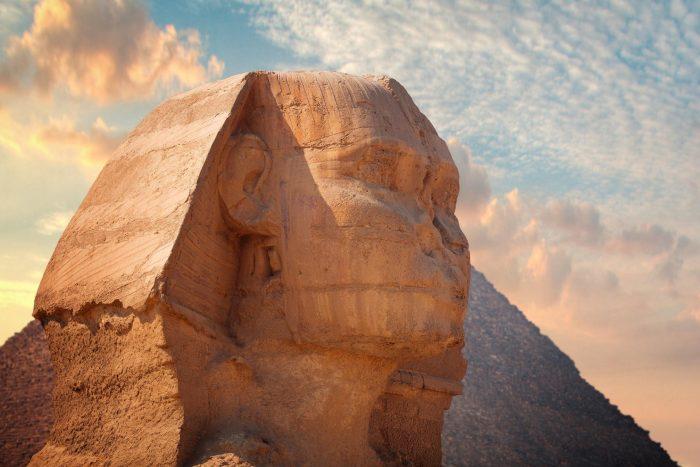 Sfinx hoofd bij de Piramides van Gizeh