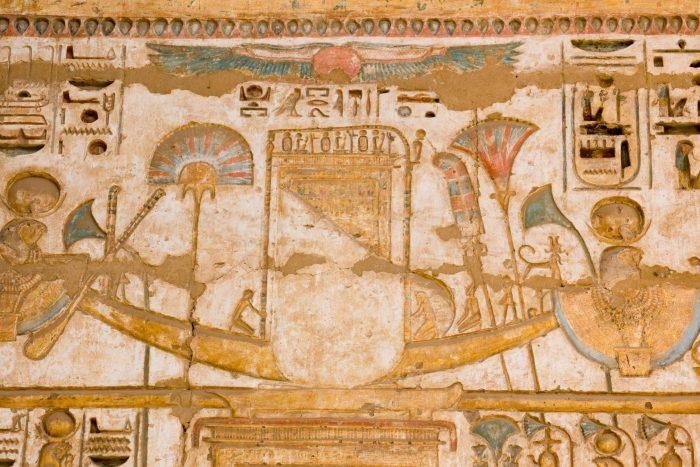 Solar Barque (Zonneboot) Afgebeeld bij de Piramides van Gizeh