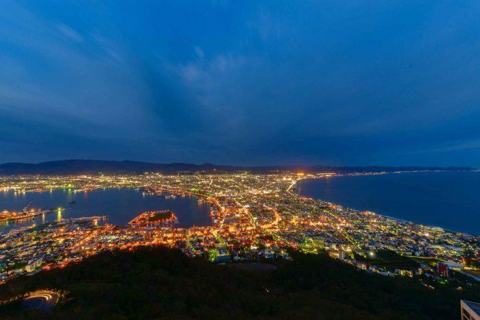 Nachtzicht vanaf Mount Hakodate