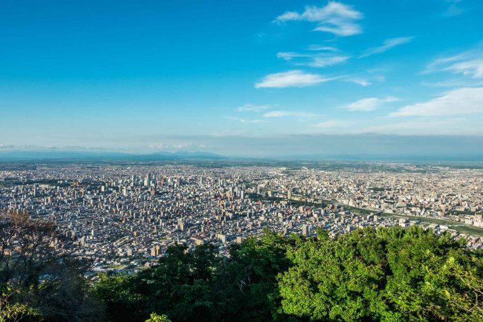 Uitzicht over Sapporo vanaf Mount Moiwa