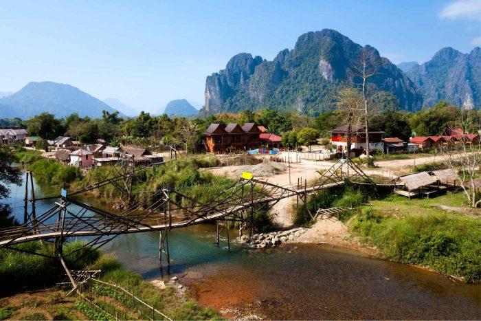 Gammele brug in Vang Vieng