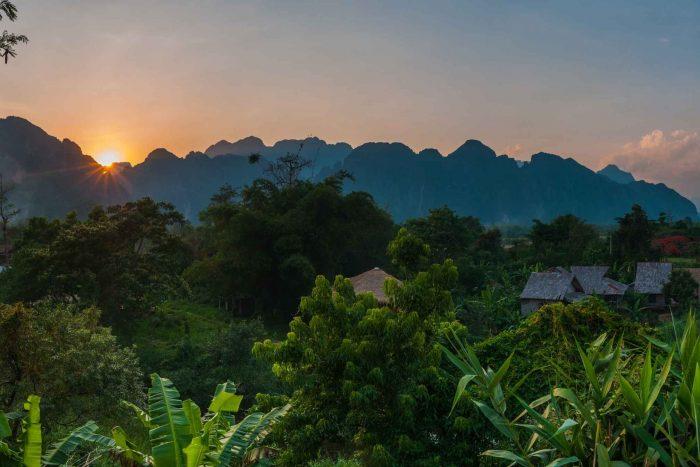 Zonsondergang in Vang Vieng