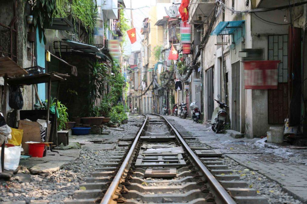 De oude trein door Hanoi