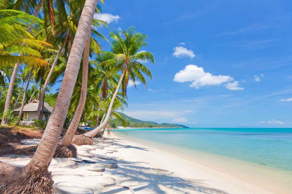 Wit strand op Ko Samui in Thailand