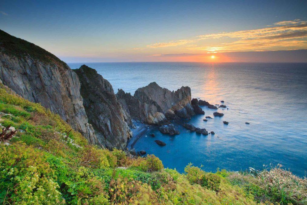 Zonsondergang op Matsu eiland in Taiwan