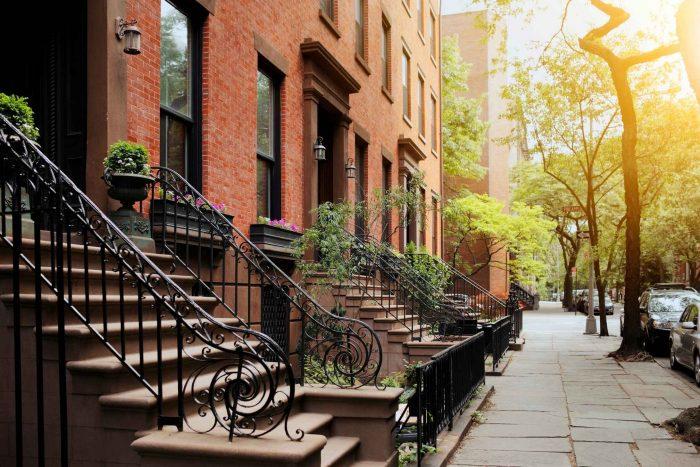 De straten en huizen van Brooklyn