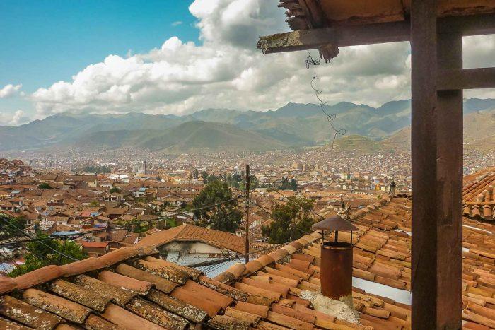 Uitzicht op Cusco vanaf hostel dak