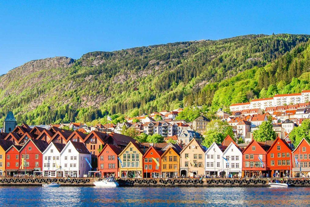 Kleurrijke huizen in Bergen in Noorwegen