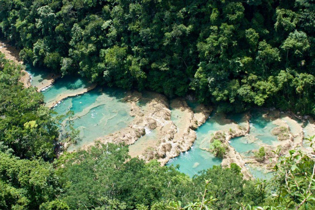 Helder blauw water in de jungle van Semuc Champey