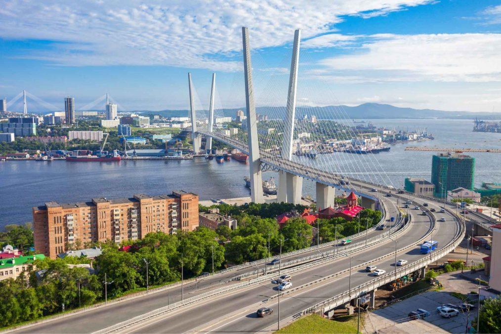 Zolotoy Golden Bridge bij Vladivostok