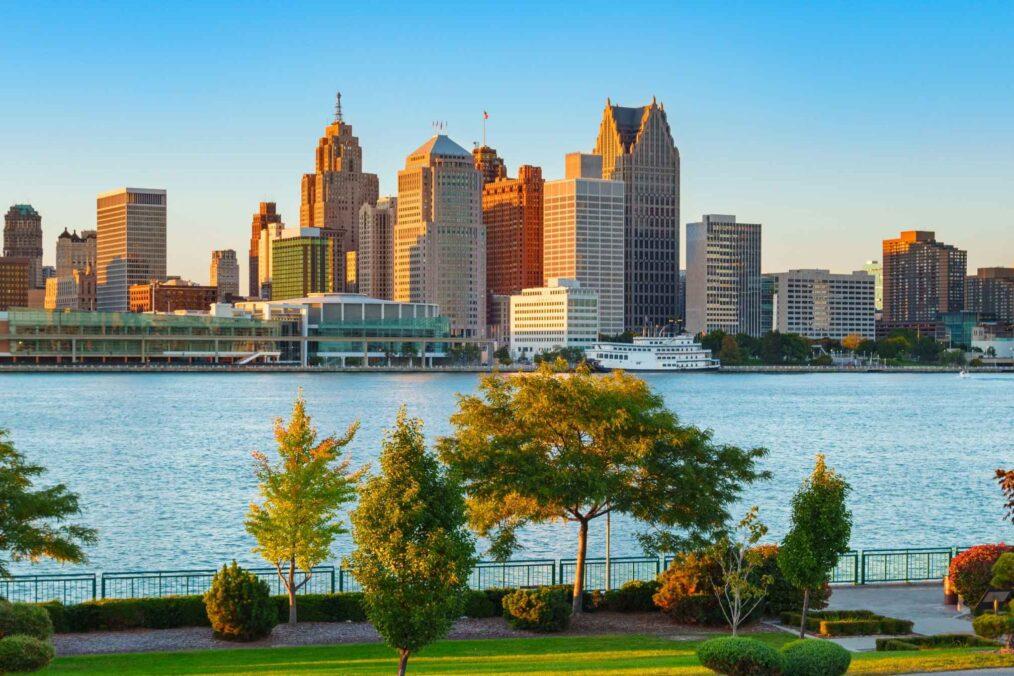 De skyline van Detroit
