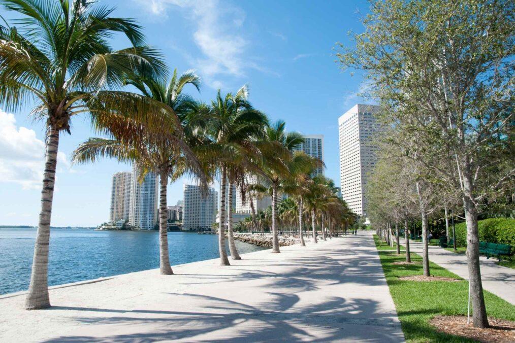 Wandelpad langs het water in Miami