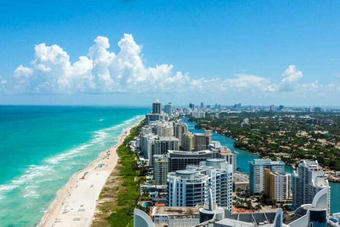 De kustlijn van Miami