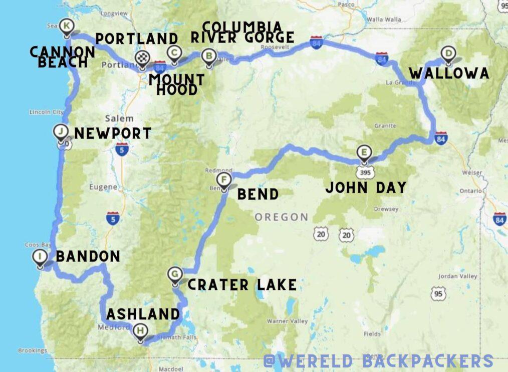 Reisroute door de hele staat Oregon