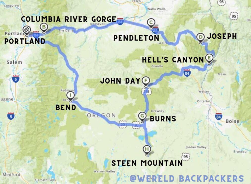 Reisroute door het Oosten van Oregon