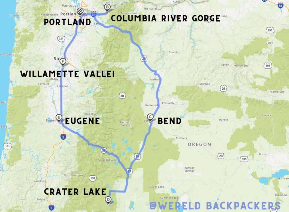 Reisroute langs de Cascades in Oregon