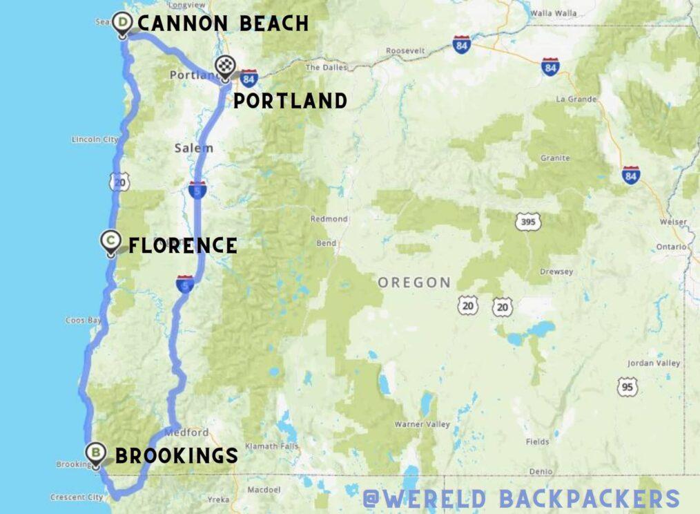 Reisroute langs de kust van Oregon