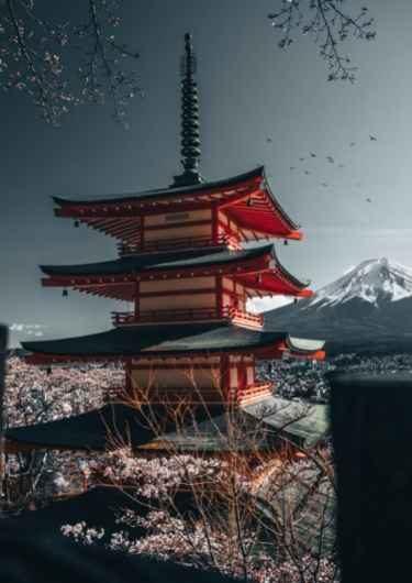 Temple en Mount Fuji in Japan